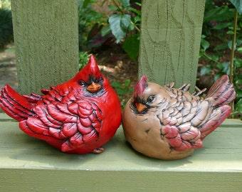 Cardinal Pair - Cement/Concrete Red Bird Figurines/Garden Statues - Christmas decor - gift for gardener or bird watcher