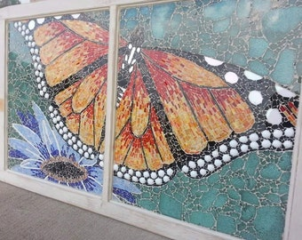 OOAK Stained Glass Monarch Butterfly and Flower mosaic on a Vintage Double Pane Window Orange Blue BLack Green Red White
