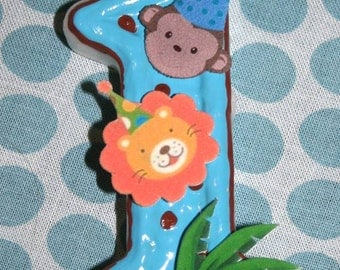 Zoo Birthday Candle, Monkey Birthday Candle, Lion Birthday Candle