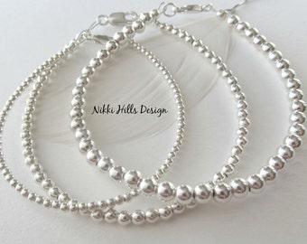 Silver Stack Bracelet, Sterling Silver Bead Bracelet, Stacking Bracelets, Sterling Bracelet, Silver Ball, Dainty Friendship Bracelet