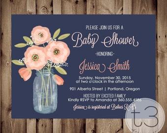 BABY GIRL Baby Shower Invitation, rustic baby shower invite, mason jar invite, country baby shower invitation, coral and navy invitation