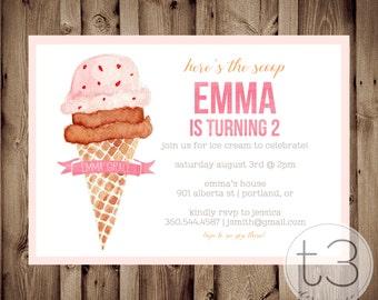 Ice Cream girl birthday invitation, girl birthday invitation, ice cream party invitation, girl birthday invite, ice cream social