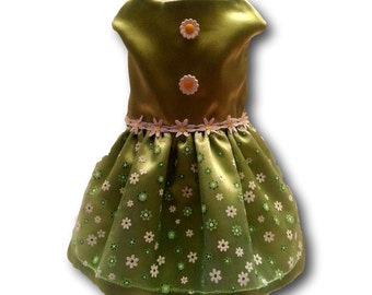 Dog Dress, Dog Clothing, Dog Wedding Dress, Pet Clothing, Pet Dress, Dog Attire, Green Satin with Daisy's