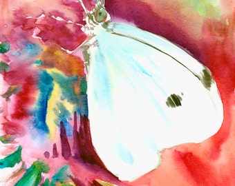 White Butterfly, original watercolor painting, 9 X 12 in,red violet burgundy wall art, animal art,