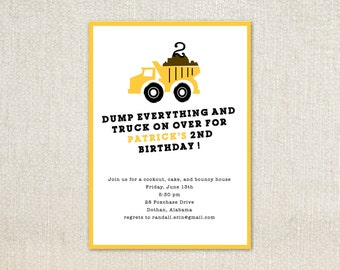 Dump Truck boys birthday party invitations