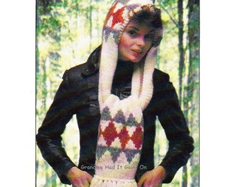 Hooded Pixie Hat Scarf KNITTING PATTERN Vintage Fringe Hat Pattern PDF Instant Download Knitted Hippie Winter Wrap Hat Digital Pattern