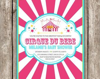 Circus Baby Shower Invitation - Pink Cirque du Bebe Baby Shower - DIY Printable
