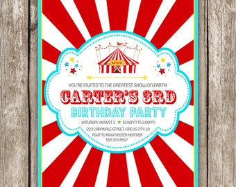 Carnival Birthday Invitation - Carnival Circus Birthday Party - DIY Printable