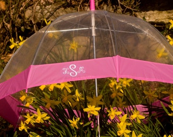 Monogrammed Clear Dome Umbrella with Pink Trim FREE SHIPPING