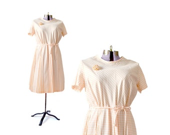 1950s Dress  Plus Size Dress Xl Dress Gingham Dress Peach Dress Vintage Clothing Dress / Day Dress / Women Clothing Party Dress