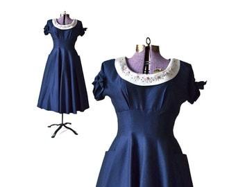 1940s Dress 40s Rhinestone Dress  / Navy Dress / Nautical Dress / Sailor Dress /  Blue Dress Party Dress Women's Clothing