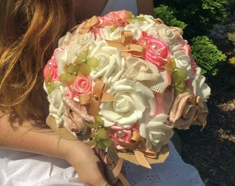Wedding Bridal Bouquet,Fabric Bouquet,Rustic Wedding,RUSTIC,Wedding Flowers,Pink/White,Sage,Nutmeg,Bows,Burlap,Country Western,Bride-Bride's