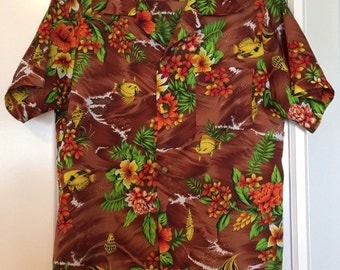 Vintage Hawaiian Shirt, Tropical Flowers, Bright and Breezy, 1960's