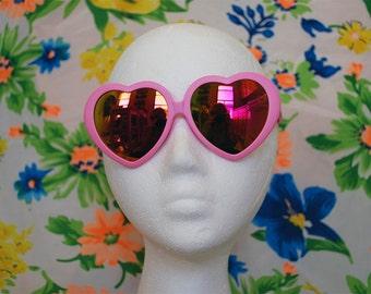 15% Off Pink Heart Shaped Sunglasses Lolita Oversized Mirror Revo Glasses - Lana