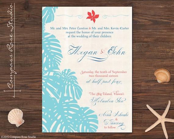 Wedding Gifts For Hawaii : Hawaiian Wedding Invitations, Tropical Invitations, Beach Invites ...