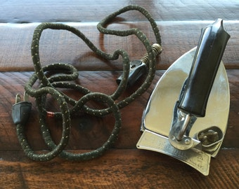 Vintage Durabilt Folding Travel Iron by The Winsted Conn Mfg Co (1940s)