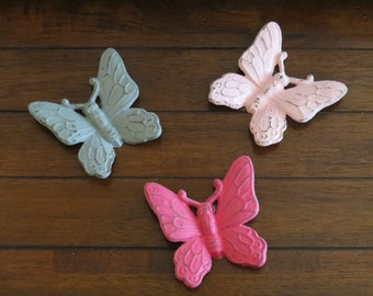 Butterfly Wall Hangings / Cast Iron Wall Decor / Vintage Inspired / Pick Your Colors / Shabby Chic Wall Decor /Girl's Room / Butterfly Decor