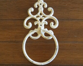 Fleur de Lis Towel Ring / Creamy White or Pick Color Towel Hanger / Heavy Cast Iron Towel Hook / Shabby Chic Bathroom Accessory /Powder Room