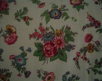 SALE  Vintage Floral Fabric Piece