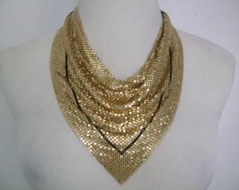 Vintage WHITING and DAVIS Disco Era Slinky Sexy Shimmering Sweeping Gold Tone w/Black Stripe Mesh Bib Drape Necklace or Scarf Unusual Design