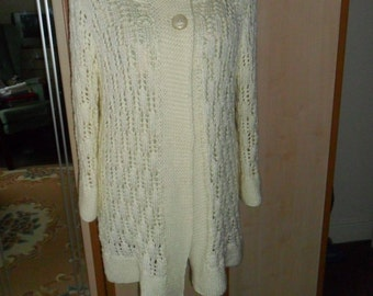 Jacket,  Hand Knitted, longer length, fitted, Aran yarn, 2 buttons, off white colour,lacy, long sleeves, washable FREEPOST UK