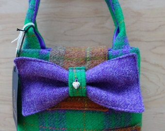Bright green and purple check Harris Tweed small bucket bag with bow