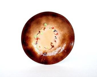 Vintage Enamel Bowl - Mid Century Decor - Decorative Bowl - Copper Enamel Art Bowl - Brown Decor - Mid Century Modern Decor -