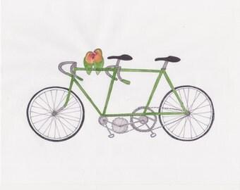 "love birds and green tandem wall art 8""x10"" print"