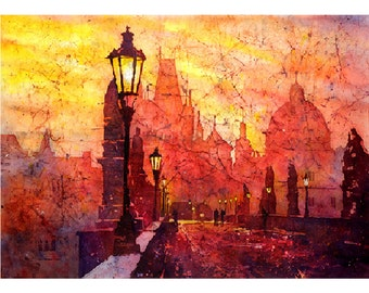 Batik painting of sunrise over Charles Bridge the medieval city of Prague- Czech Republic. Prague painting.  Watercolor landscape fine art