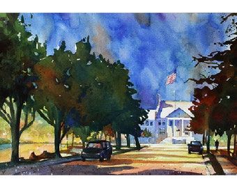 Watercolor painting of Cary Arts Center on Academy Street in downtown Cary, North Carolina.  Fine art print, watercolor painting, home decor
