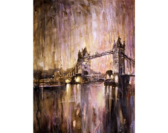 Fine art watercolor painting of Tower Bridge on River Thames at sunset in the city of London- UK.  Art London watercolor painting wall print