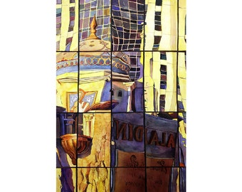 Watercolor painting of reflection of Las Vegas casino in window- Las Vegas, Nevada (USA).  Vegas fine art print watercolor original casino
