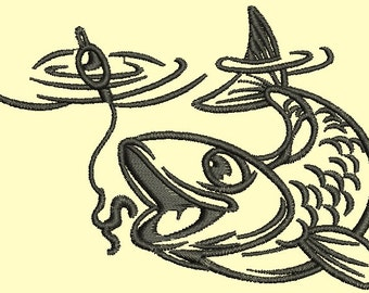 fish on the hook \ Fisherman \ two sizes embroidery design. Tesed.