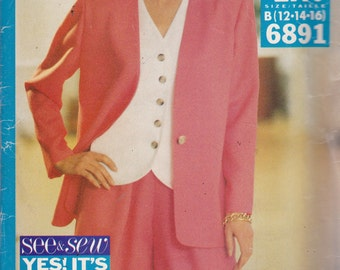 See and Sew 6891 Vintage Pattern Womens Jacket ,Top and Shorts Size 12,14,16 UNCUT