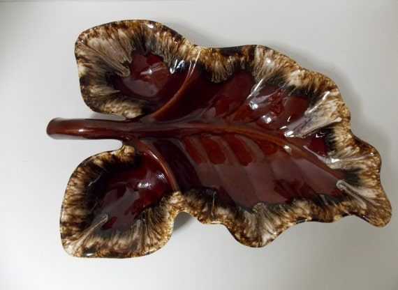 Snack Tray Hull Oven Proof Usa Brown Drip Leaf Pattern