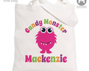 Personalized Trick or Treat Bag - Girls Personalized Candy Monster Bag - Personalized Halloween Trick or Treat Tote Bag  Ask a Question