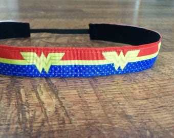 Wonder Woman headband. wonder woman accessories, superhero half marathon, running headband, workout headband, hair accessories, girls gift