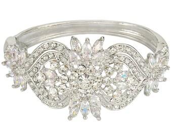 "Bridal Bracelet Wedding Bracelet Silver""Art Deco"" Wedding Bracelet Bridal Jewelry Wedding Jewelry Bridal Accessories Style-168"
