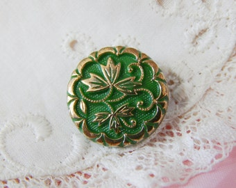 Green Glass with Leaf Design Enhanced with Gold Vintage Button