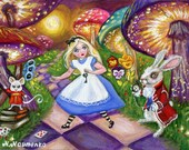 ACEO Original Limited Edition PRINT from Original Painting Alice in Wonderland Fairy Tale