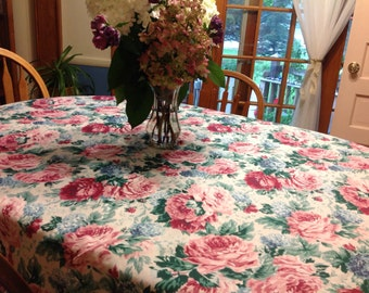Vintage Oblong Floral Tablecloth Large Floral Tablecloth