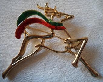 Vintage Signed Danecraft Goldtone/RedGreen Flying Reindeer Brooch/Pin