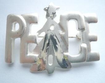 Vintage Unsigned Silvertone/Matt Peace Brooch/Pin