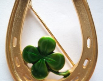 Vintage Signed JJ  Goldtone Horseshoe Four Leaf Clover Brooch/Pin