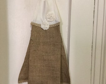 Natural Burlap Muslin Hand Hanging Towel Burlap Hand Hanging Towel Tie Top Hand Hanging towel