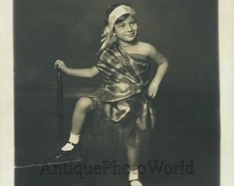Cute child in ethnic dress costume antique art photo