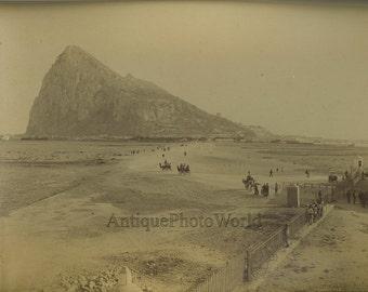 Gibraltar beach scene antique albumen photo