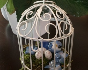 Blue Bird with Eggs Decor