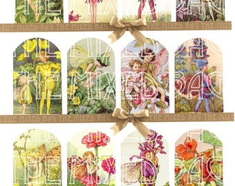 Vintage style Fairies gift tags Printable tags on Digital Collage Sheet best for journaling, paper craft Printable download Paper goods