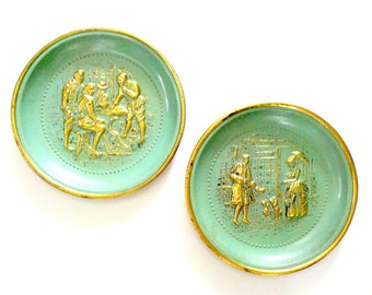 Metal Wall Decor, English Scenes, Round Tin Repousse Pictures, Turquios Gold Wall Decor, Victorian